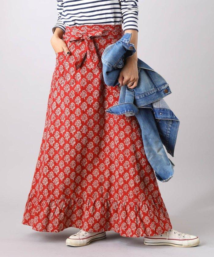 プリントラップスカート