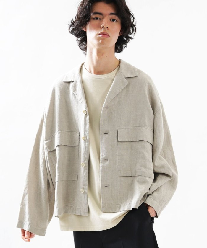▽Herdmans/ハードマンズ  ビッグシルエット リネンシャツジャケット