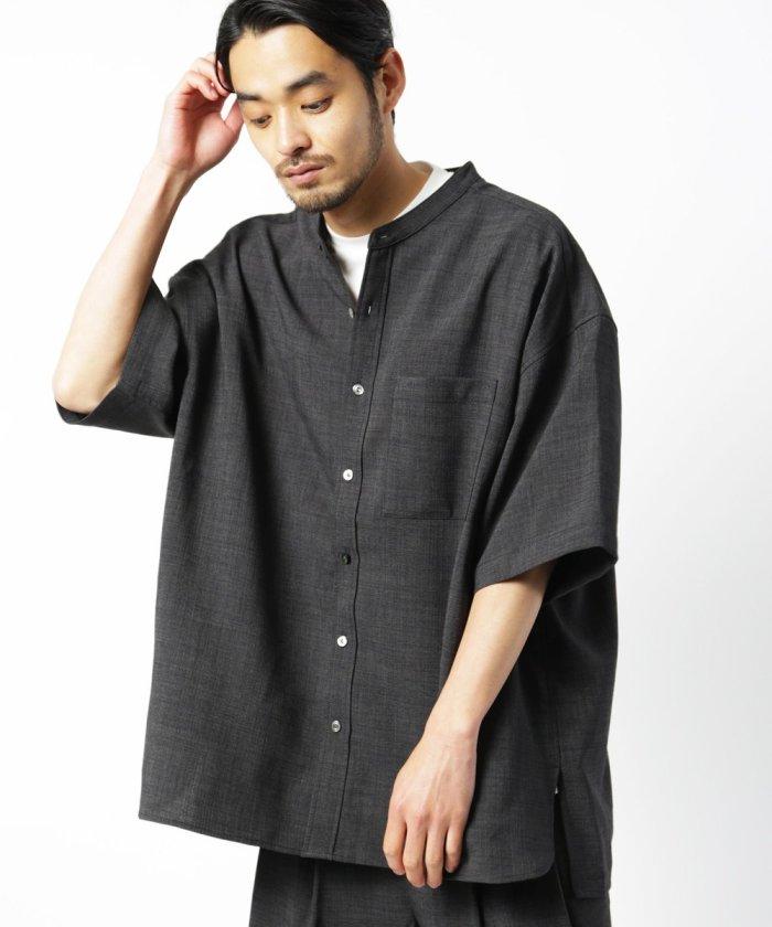 テックポリブッチャーシャツ/ビッグシルエットスタンドカラーシャツ