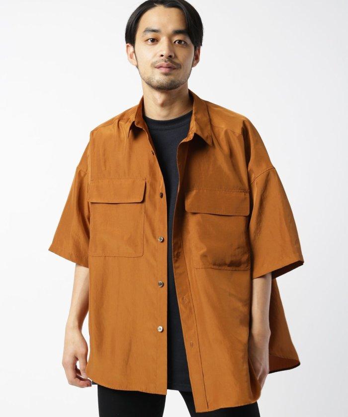 ビッグシルエット ビンテージサテンシャツ / CPOシャツ / 半袖シャツ