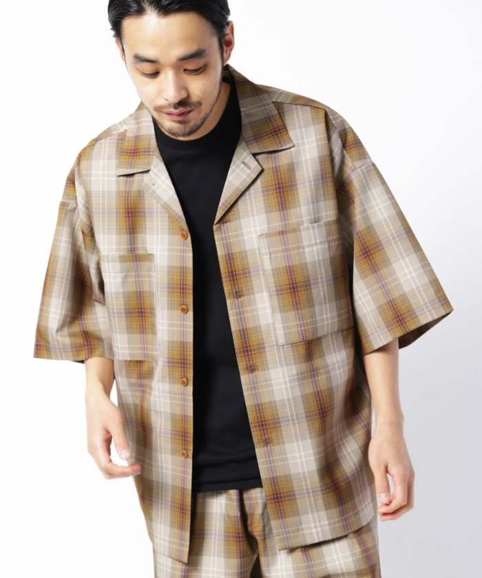 テックリネン イージーシャツ / ビッグシルエットシャツ / オープンカラーシャツ