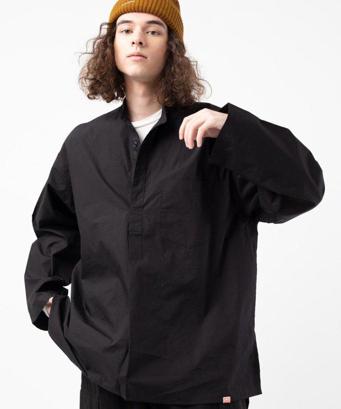 スタンドカラープルオーバーミリタリーシャツ/スリーピングシャツ