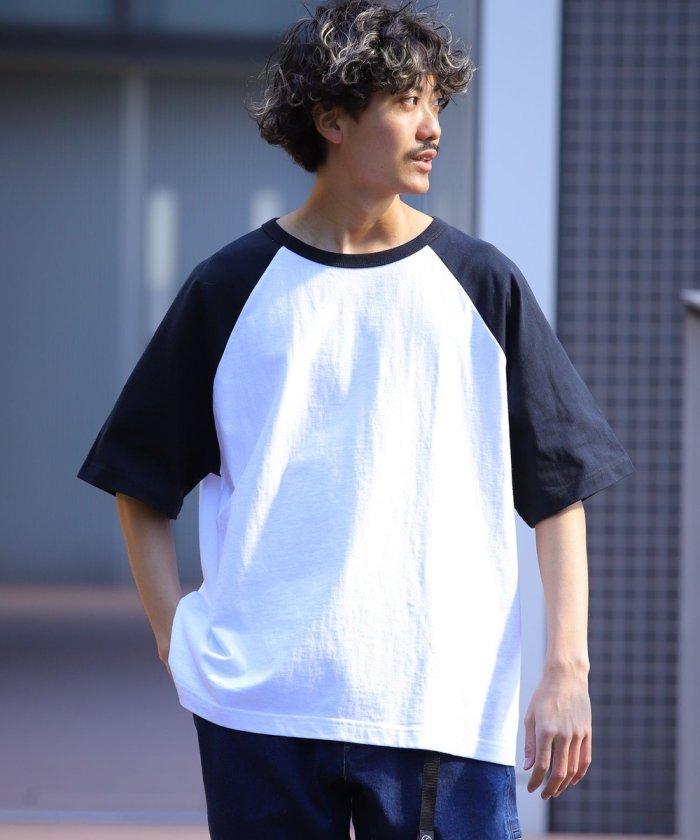 ビッグシルエット ソリッド ラグランスリーブTシャツ/オーバーサイズ【WEB限定】