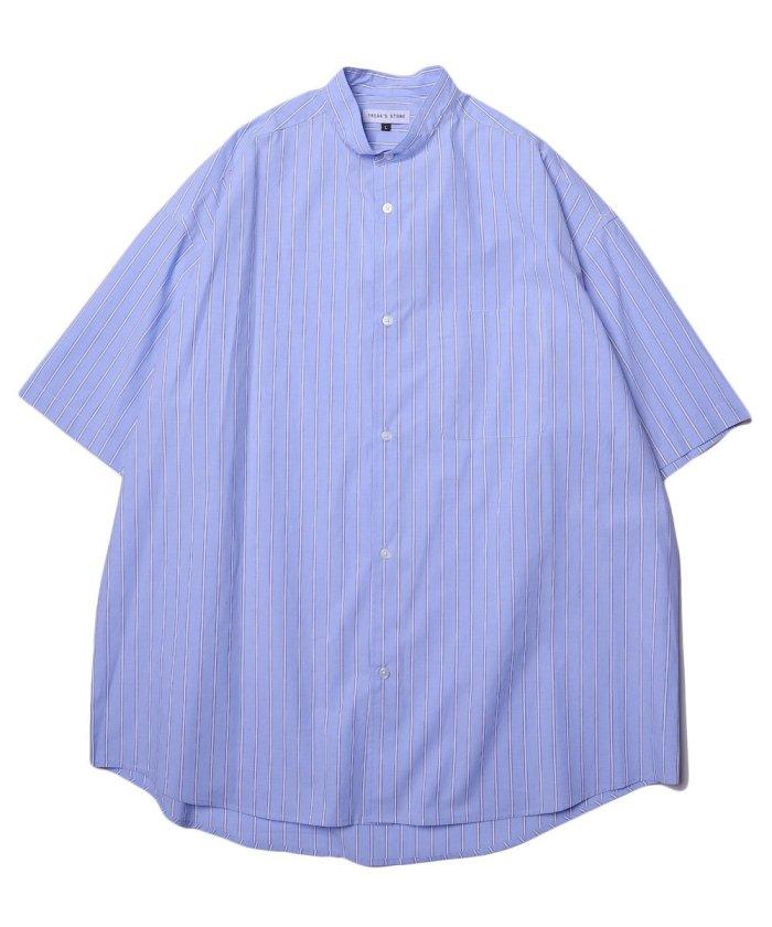 Wide Fit ワイドフィット バンドカラー ショートスリーブシャツ/オーバーサイズ【WEB限定】
