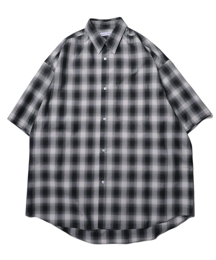 Wide Fit ワイドフィット レギュラーカラー ショートスリーブ チェックシャツ/オーバーサイズ【WEB限定】