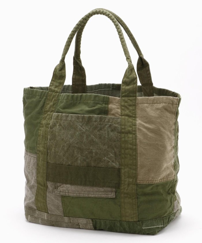 COTTON ARMY CLOTH PATCHWORK TOTE BAG M