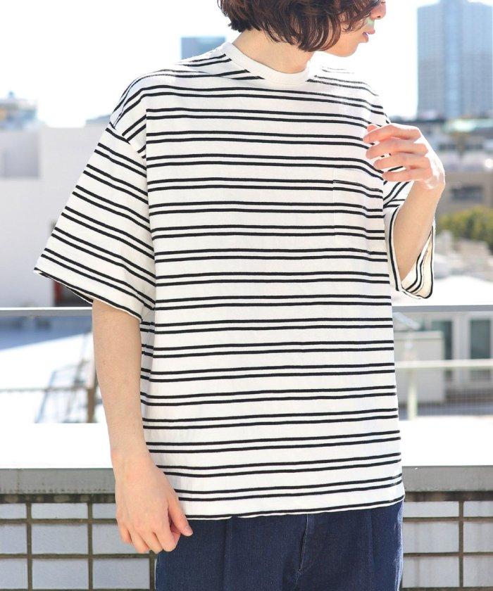 ビッグシルエット マックスウェイト クルーネックボーダーTシャツ/オーバーサイズ【WEB限定】