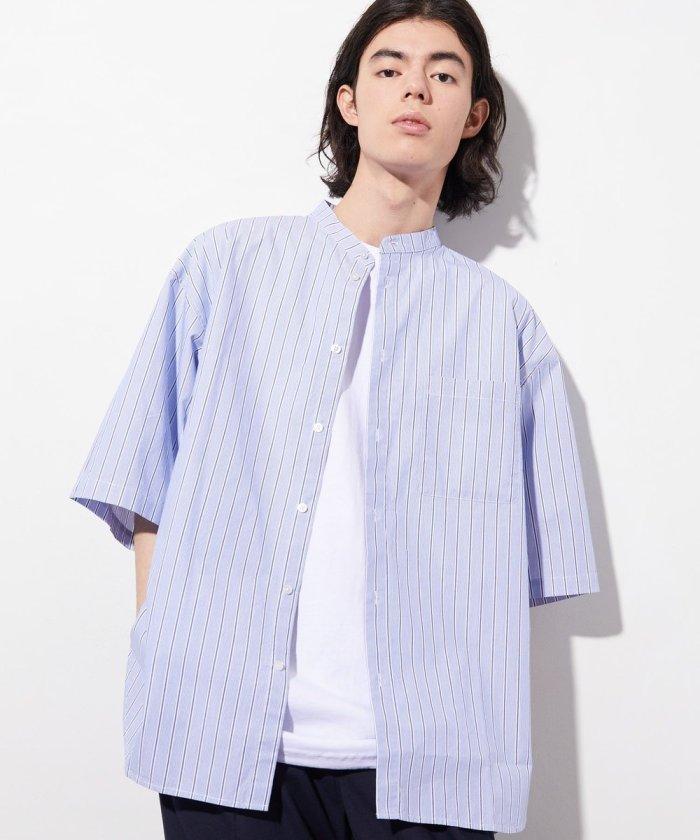 BIGシルエット スタンドカラー タイプライター 半袖シャツ