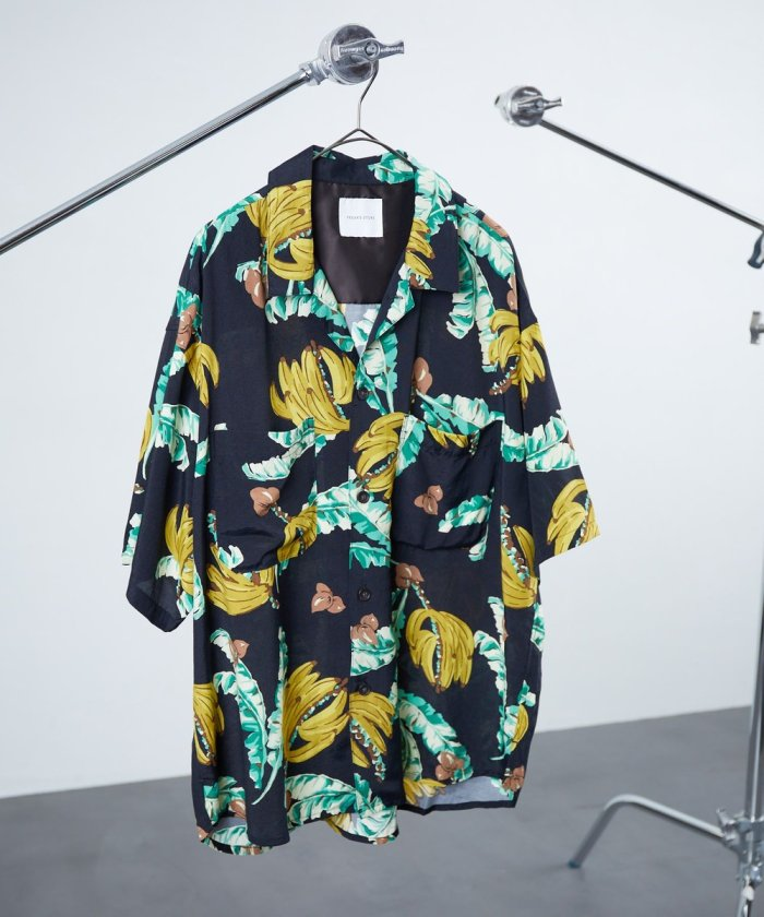 ビックシルエット オープンカラーシャツ/シェフ シャツ ショートスリーブ