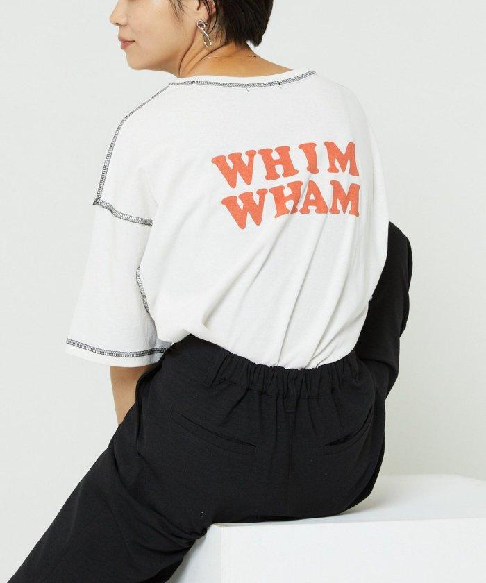 配色ステッチプリントTシャツ