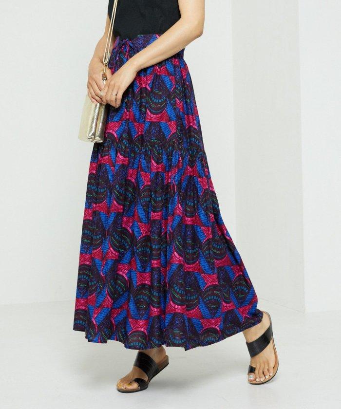 インドアフリカンプリントスカート