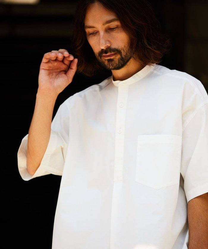 スタンドカラープルオーバーミリタリーシャツ ショート スリーブ/スリーピングシャツ