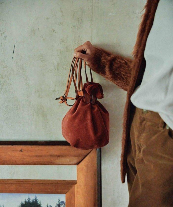 スエード巾着バッグ