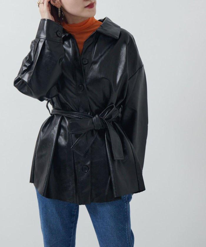 エコレザーベルト付きミドルジャケット