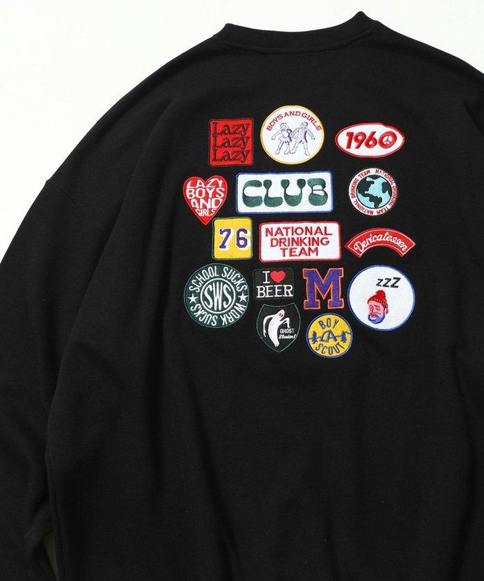 ビッグシルエット バック刺繍 ランダムワッペンデザイン クルーネックスウェット【WEB限定】【一部予約商品】